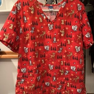 Women's Disney Christmas Scrub Bambi Thumper XL